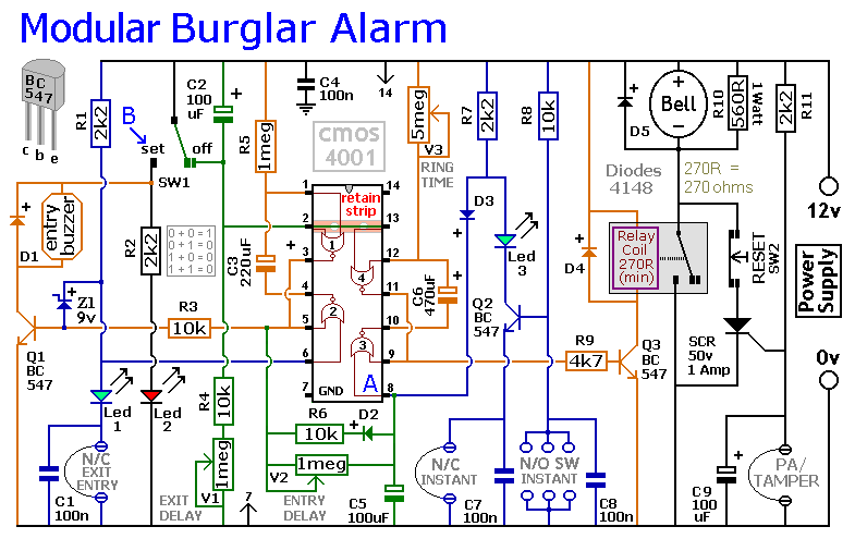 How to build an expandable multi zone modular burglar alarm on wiring diagram for alarm keypad Power Wiring Diagram Conductor Diagram