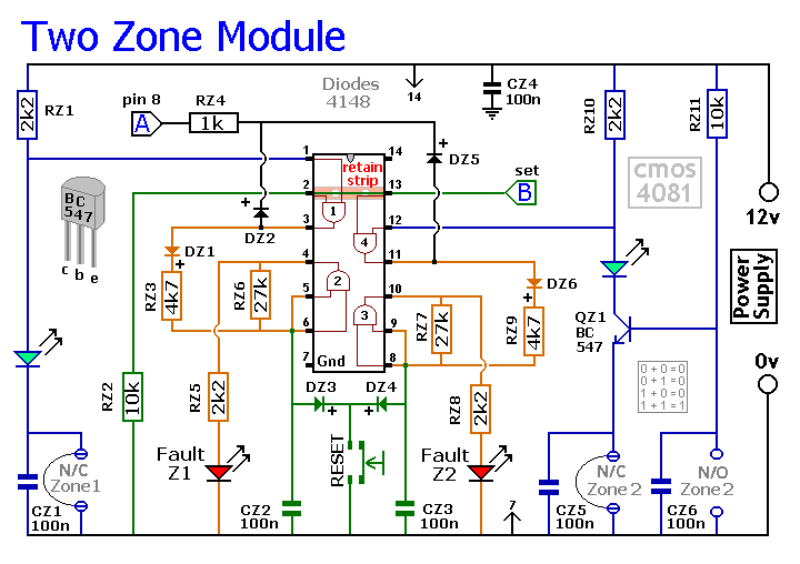 How to build An Expandable Multi-Zone Modular Burglar Alarm - circuit
