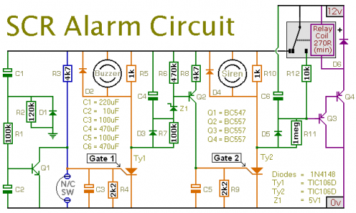 how to build an expandable scr based burglar alarm circuit diagram  scr wiring diagram #43