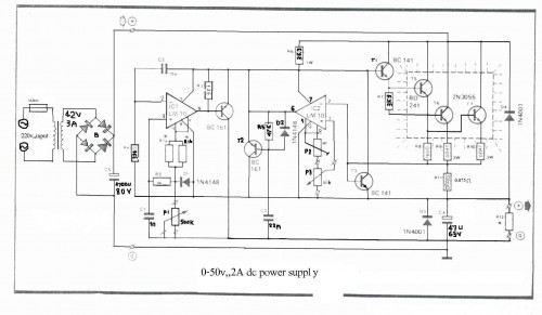 0-50V 2A Bench power supply-Circuit diagram