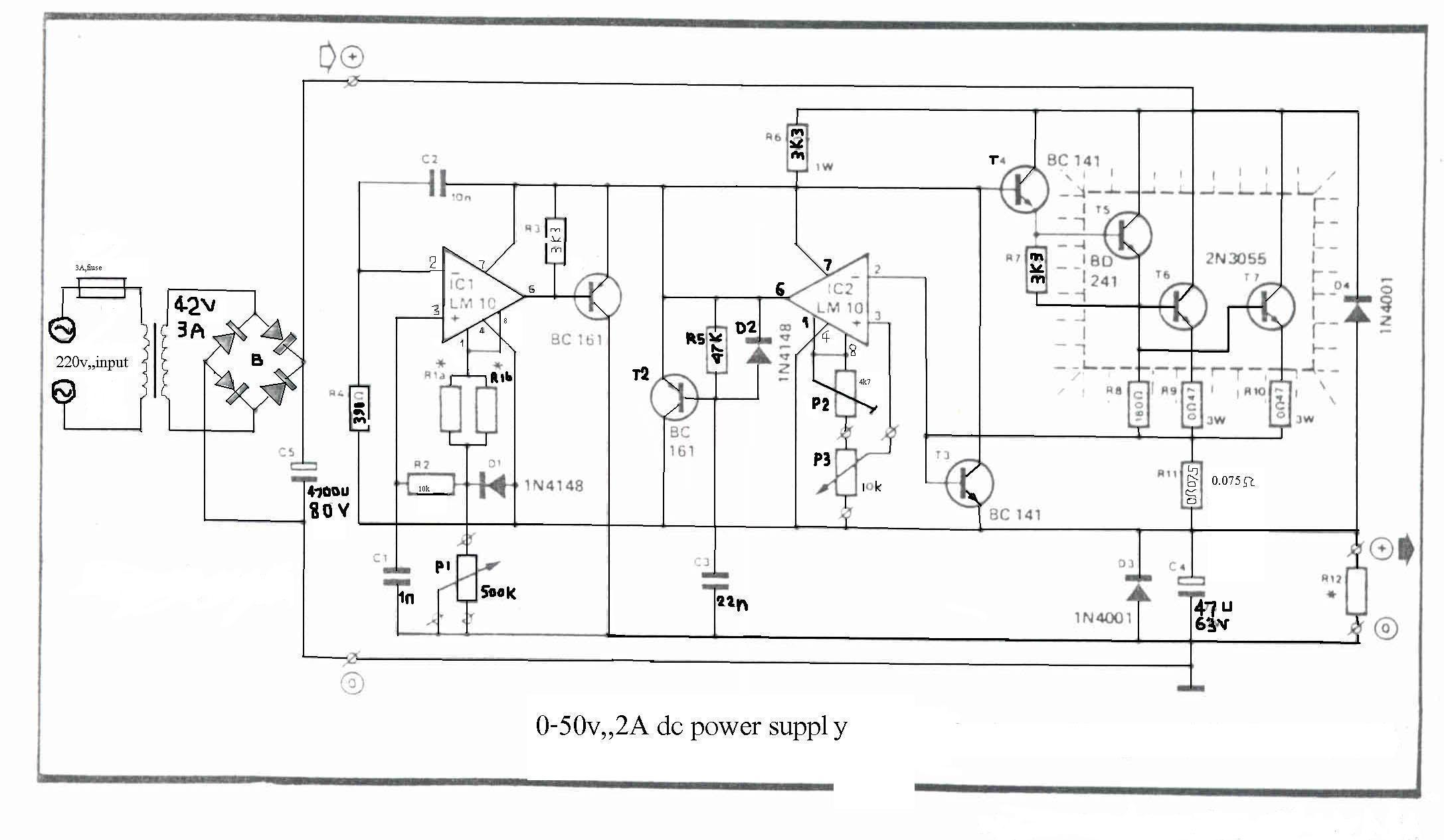 0 30v Power Supply Circuit Diagram Wiring Library Electronic And Projects 50v 2a Bench