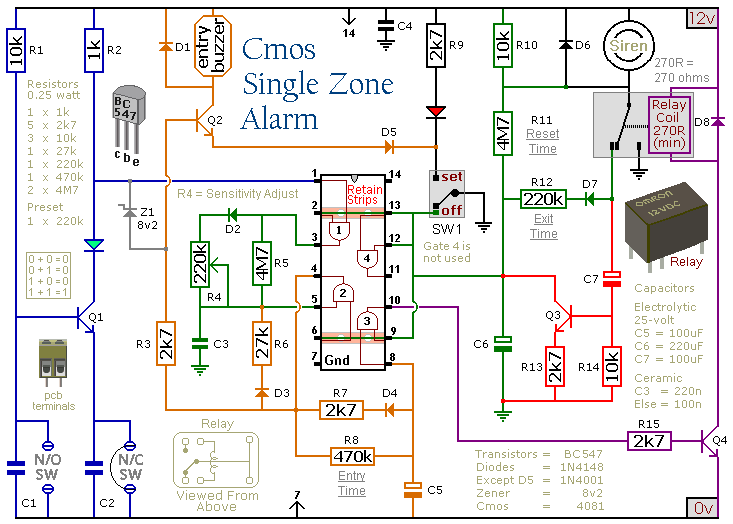A Cmos Based Single Zone Alarm on alarm door contacts wiring
