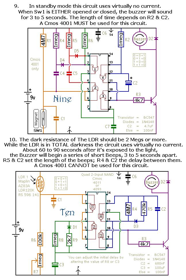 photograph of ron j39s cmos 4001 based door alarm circuit board