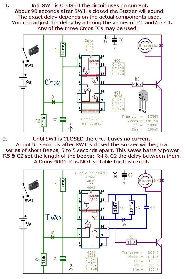 How to build A Dozen Small Cmos Alarm Circuits - circuit diagram