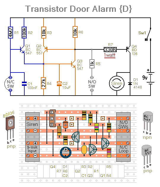 How To Build Four Small Transistor Alarm Circuits