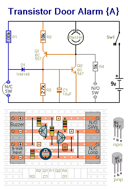 How to build Four Small Transistor Alarm Circuits - circuit diagram