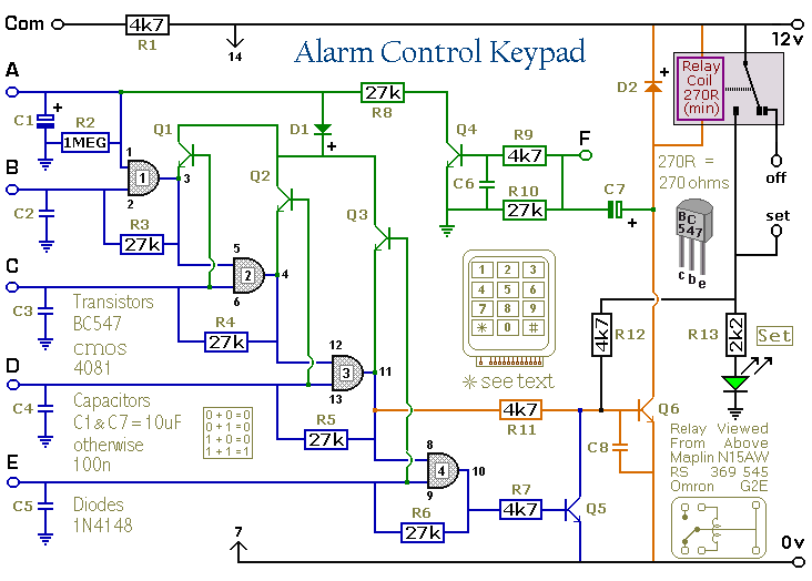 How to build a 5 digit alarm control keypad circuit diagram on wiring diagram for alarm keypad Swing Gate Wiring Diagram home alarm wiring