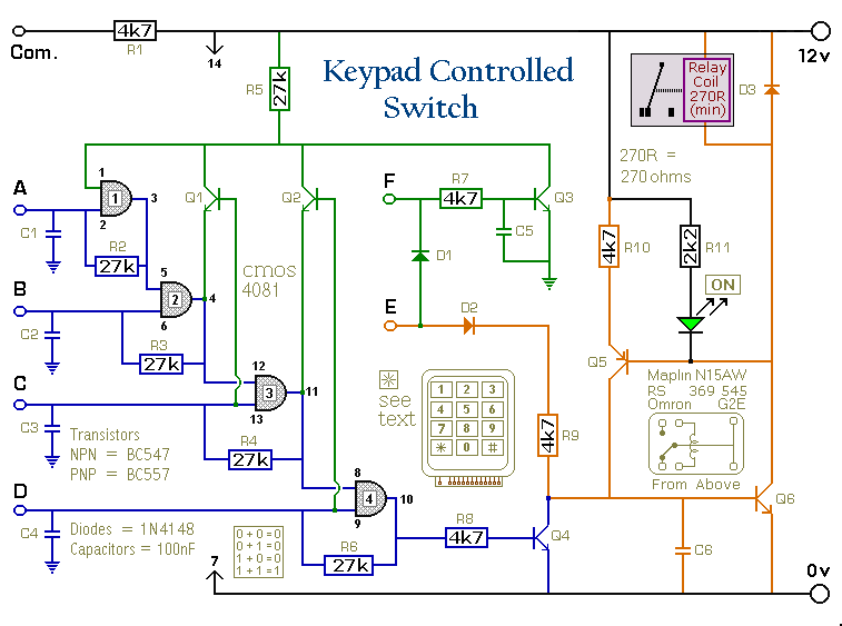 How to build a 4 digit keypad controlled switch circuit diagram schematic diagram ccuart Images