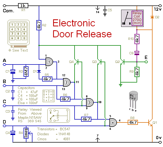 How To Build Electronic Door Release Circuit Diagram