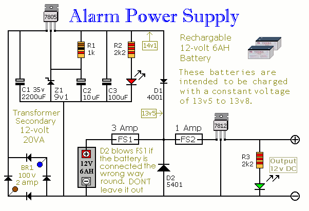 how to build an alarm power supply with battery back up circuit rh circuit finder com Battery Backup Power Battery Backup Power Supply
