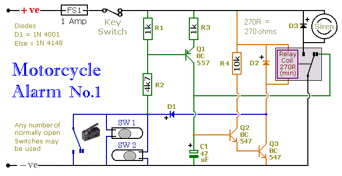 how to build a transistor based motorcycle alarm circuit diagram