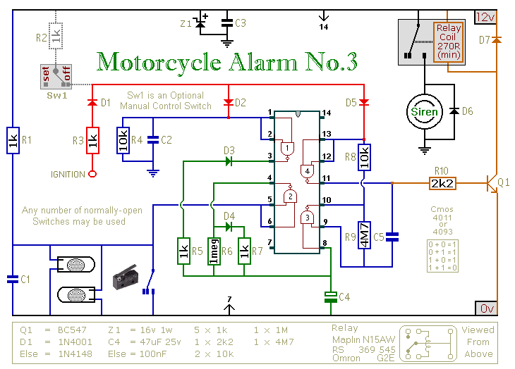 1999 dodge ram 1500 stereo wiring diagram how to build a cmos based motorcycle alarm circuit    diagram     how to build a cmos based motorcycle alarm circuit    diagram