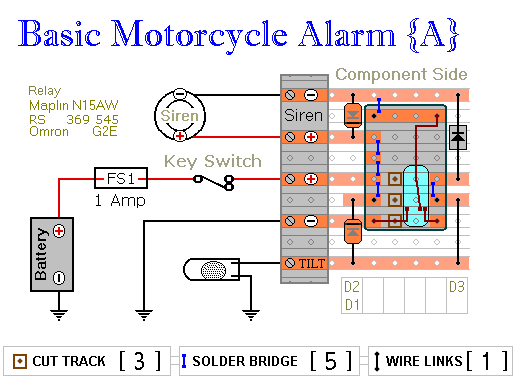 How to build two simple relay based motorcycle alarms circuit diagram two simple relay based motorcycle alarms cheapraybanclubmaster Gallery