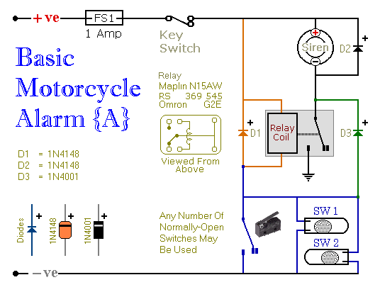 two simple relay based motorcycle alarms_orig how to build two simple relay based motorcycle alarms circuit simple switch and relay wiring diagram at reclaimingppi.co