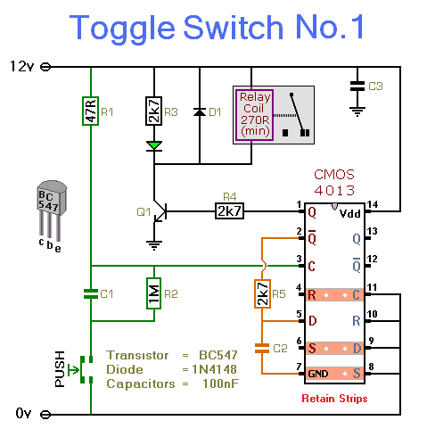 how to build electronic toggle switch no1 circuit diagram rh circuit finder com Toggle Switch Pin Diagram transistor toggle switch circuit diagram
