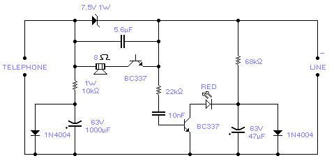 Telephone line monitor-Circuit diagram