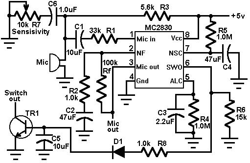 how to build voice activated switch circuit diagram