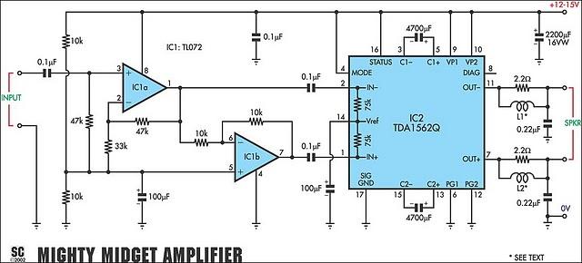 TDA1562Q ile Yapılmış Pre-Amfili ve Filtreli 70 Watt Amfi Devresi.