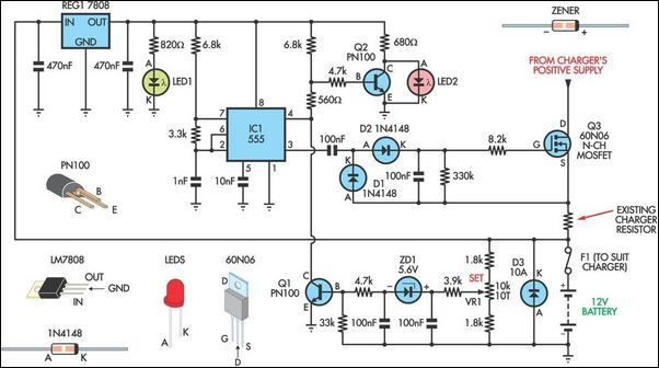 how to build battery charger regulator circuit diagram