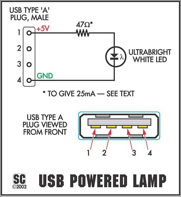 The Itsy-Bitsy USB Lamp-Circuit Diagram