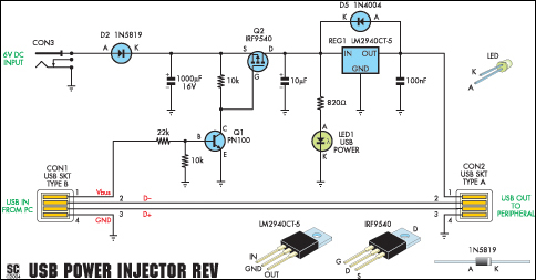 USB Power Injector For External Hard Drives-Circuit diagram