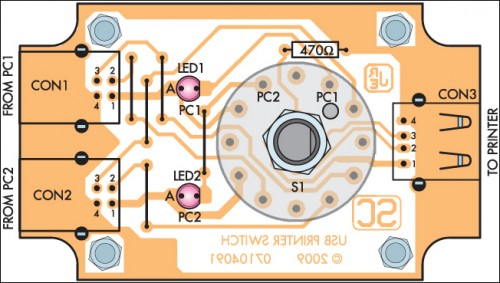 USB Printer Share Switch Circuit Project-Parts layout