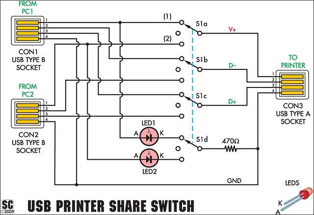 Usb Printer Share Switch Circuit Project on two way switching wiring diagram