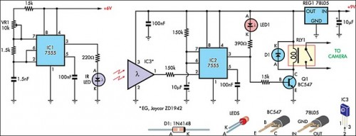 Beam-break Detector For Camera Shutter or Flash Control-Circuit diagram