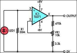 How to build Using LED As A Light Sensor - circuit diagram