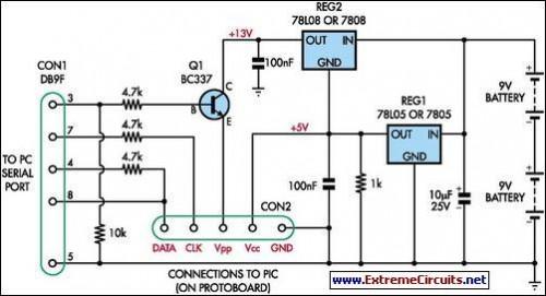 Simple Universal PIC Programmer-Circuit diagram
