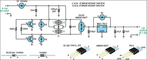 12V Regulated Inverter Supply-Circuit diagram