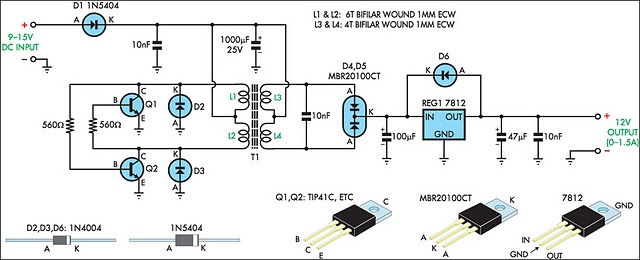 How To Build 12v Regulated Inverter Supply Circuit Diagram