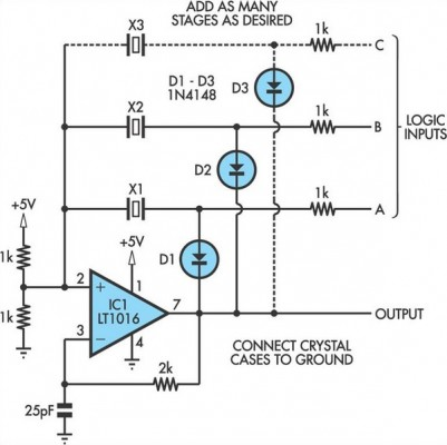 Switchable Output Crystal Oscillator-Circuit diagram